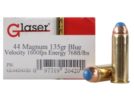 Glaser Blue Safety Slug Ammunition 44 Remington Magnum 135 Grain Safety Slug Package of 20
