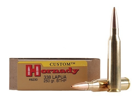 Hornady Custom Ammunition 338 Lapua Magnum 250 Grain Hollow Point Boat Tail Box of 20