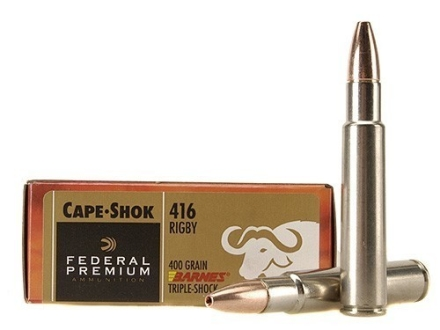 Federal Premium Cape-Shok Ammunition 416 Rigby 400 Grain Barnes Triple-Shock X Bullet Hollow Point Lead-Free Box of 20