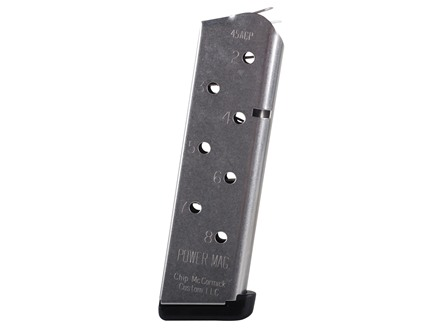 Chip McCormick Power Mag Magazine with Base Pad 1911 Government, Commander 45 ACP 8-Round Stainless Steel