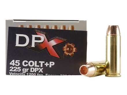 Cor-Bon DPX Ammunition 45 Colt (Long Colt) +P 225 Grain DPX Hollow Point Lead-Free Box of 20