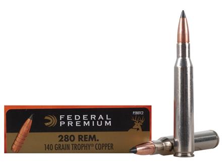 Federal Premium Vital-Shok Ammunition 280 Remington 140 Grain Trophy Copper Tipped Boat Tail Lead-Free Box of 20
