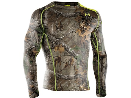 Under Armour Men's EVO Scent Control Base 2.0 Crew Base Layer Shirt Long Sleeve Polyester Realtree Xtra Camo XL 46-48