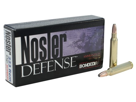 Nosler Defense Ammunition 223 Remington 64 Grain Bonded Solid Base Soft Point Box of 20