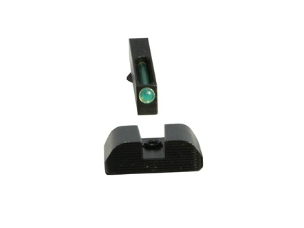 TRUGLO TFO Practical-Tactical Sight Set Glock 17, 19, 22, 23, 34, 35  Serrated Black Rear, Green Tritium and Fiber Optic Front  Steel