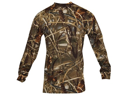 Russell Outdoors Men's Explorer Mock T-Shirt Long Sleeve Cotton Realtree Max-4 Camo 2XL 50-52