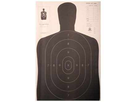 NRA Official Silhouette Targets B-27E 50 Yard Paper Black/White Package of 100