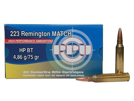 Prvi Partizan Match Ammunition 223 Remington 75 Grain Hollow Point Boat Tail