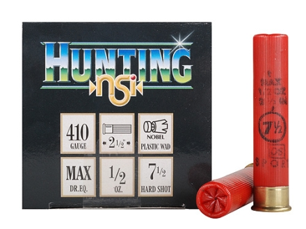 "NobelSport Hunting Ammunition 410 Bore 2-1/2"" 1/2 oz #7-1/2 Shot Box of 25"