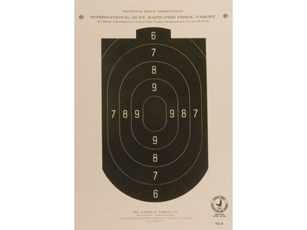 NRA Official Pistol Target TQ-8 25' Rapid Fire Paper Package of 100