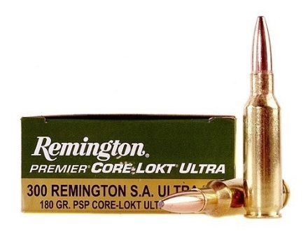 Remington Premier Ammunition 300 Remington Short Action Ultra Magnum 180 Grain Core-Lokt Ultra Bonded Pointed Soft Point Box of 20