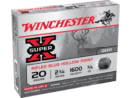 "Winchester Super-X Ammunition 20 Gauge 2-3/4"" 3/4 oz Rifled Slug"