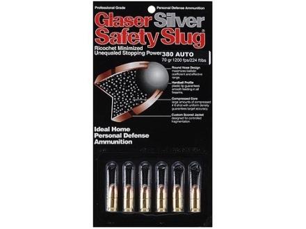 Glaser Silver Safety Slug Ammunition 380 ACP 70 Grain Safety Slug Package of 6