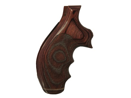 Hogue Fancy Hardwood Grips with Accent Stripe, Finger Grooves and Contrasting Butt Cap Taurus Medium and Large Frame Revolvers Round Butt Checkered