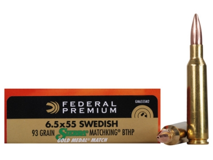 Federal Premium Gold Medal Ammunition 6.5x55mm Swedish Mauser 93 Grain Sierra MatchKing Hollow Point Boat Tail Box of 20