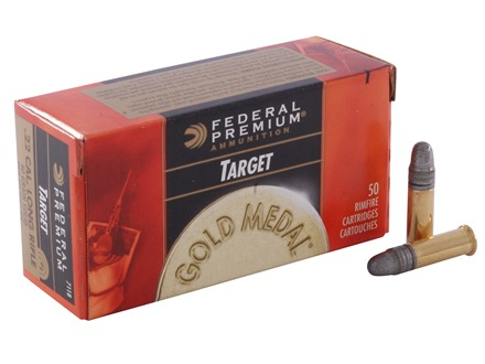 Federal Premium Gold Medal Target Ammunition 22 Long Rifle 40 Grain Lead Round Nose Box of 500 (10 Boxes of 50)