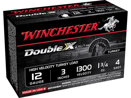 "Winchester Double X Turkey Ammunition 12 Gauge 3"" 1-3/4 oz #4 Copper Plated Shot"