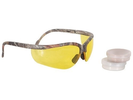 Radians Hunter's Kit Mossy Oak Camo Shooting Glasses Amber Lens with Tan Custom Molded Ear Plugs