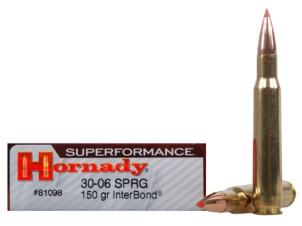 Hornady SUPERFORMANCE Ammunition 30-06 Springfield 150 Grain InterBond Boat Tail Box of 20