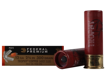 "Federal Premium Vital-Shok Ammunition 12 Gauge 2-3/4"" 300 Grain Trophy Copper Tipped Sabot Slug Lead-Free Box of 5"