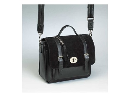 Gun Tote'N Mamas School Girl Satchel Shoulder Bag Leather Black