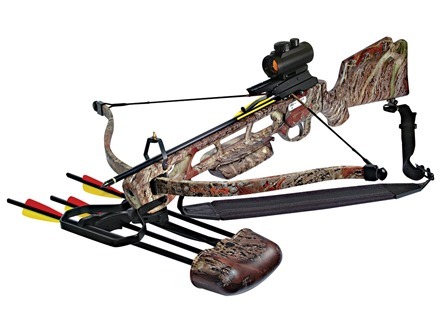 Inferno Fury Recurve Crossbow Package with Three Dot Red Dot Sight Oak Grove Fall Camo