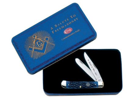 Case Masonic Trapper Folding Knife Clip and Spey Stainless Steel Blades Blue Jigged Bone Handle with Gift Tin