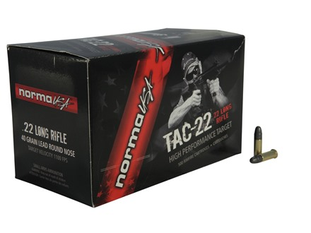 Norma USA TAC-22 Ammunition 22 Long Rifle 40 Grain Lead Round Nose Subsonic Box of 50