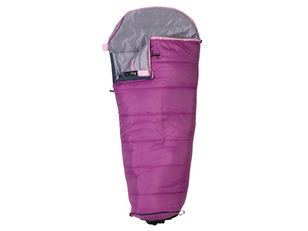 Slumberjack Go-N-Grow Girls 30 Degree Sleeping Bag Polyester Purple and Pink