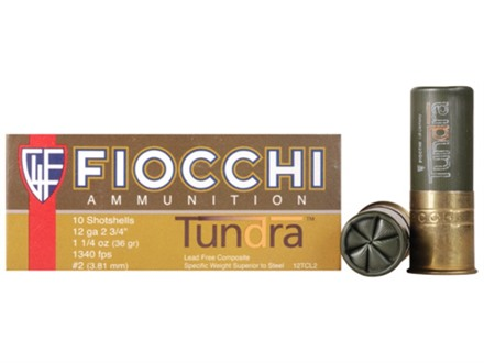 "Fiocchi Tundra Waterfowl Ammunition 12 Gauge 2-3/4"" 1-1/4 oz #2 Non-Toxic Shot"