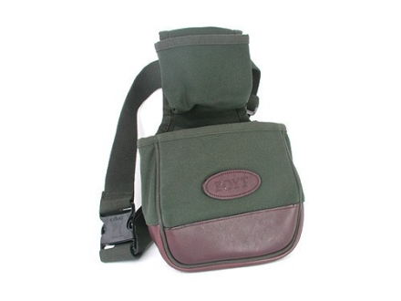 Boyt Target Shotgun Shell Pouch with Upper Shell Box Pouch and Belt Canvas with Leather Trim Green