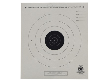 NRA Official Pistol Target B-3 50' Timed and Rapid Fire Paper Package of 100