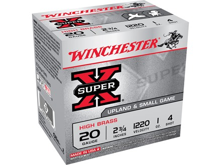 "Winchester Super-X High Brass Ammunition 20 Gauge 2-3/4"" 1 oz #4 Shot"