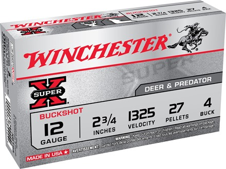 "Winchester Super-X Ammunition 12 Gauge 2-3/4"" Buffered #4 Buckshot 27 Pellets"