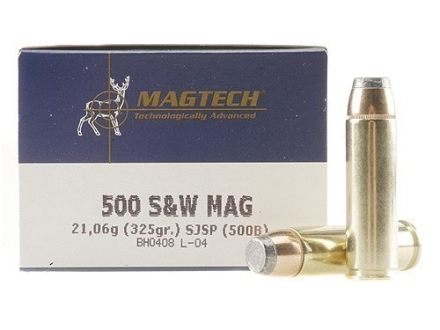 Magtech Sport Ammunition 500 S&W Magnum 325 Grain Semi-Jacketed Soft Point Box of 20