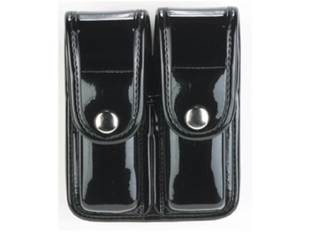 Bianchi 7902 AccuMold Elite Double Magazine Pouch Double Stack 9mm, 40 S&W Chrome Snap Trilaminate High-Gloss Black