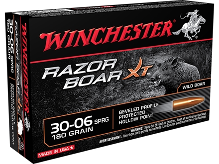 Winchester Razorback XT Ammunition 30-06 Springfield 180 Grain Hollow Point Lead-Free Box of 20
