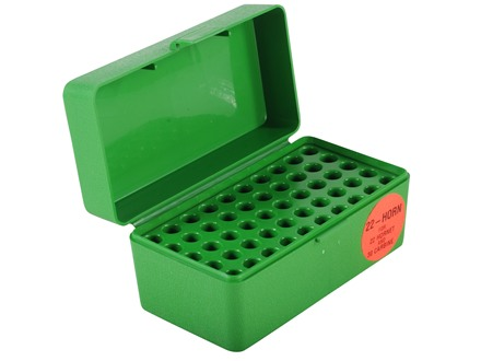 MTM Flip-Top Ammo Box 22 Hornet, 223 Remington, 30 Carbine 50-Round Plastic Green