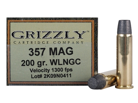 Grizzly Ammunition 357 Magnum 200 Grain Wide Flat Nose Gas Check Box of 20