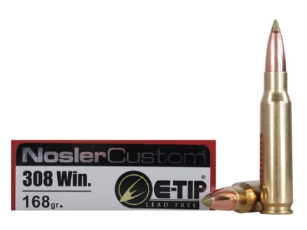 Nosler Trophy Grade Ammunition 308 Winchester 168 Grain E-Tip Lead-Free Box of 20