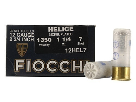 "Fiocchi Helice Target Ammunition 12 Gauge 2-3/4"" 1-1/4 oz #7 Nickel Plated Shot Box of 25"