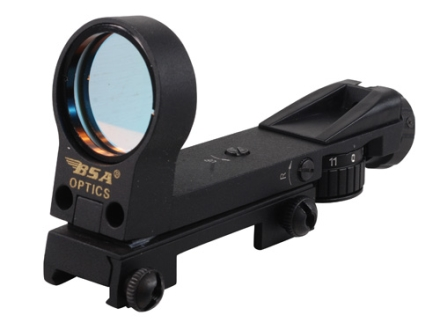 BSA Reflex Red Dot Sight 33mm Heads Up Display 4-Pattern Reticle (2 MOA Dot, Crosshair with 1 MOA Dot, Open Crosshair with 1 MOA Dot, 25 MOA Circle with 6 MOA Dot) Matte