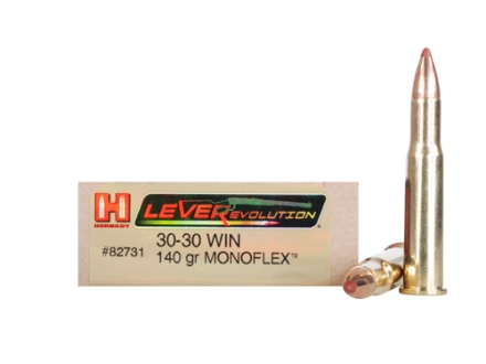 Hornady LEVERevolution Ammunition 30-30 Winchester 140 Grain Gilding Metal MonoFlex Lead-Free Box of 20