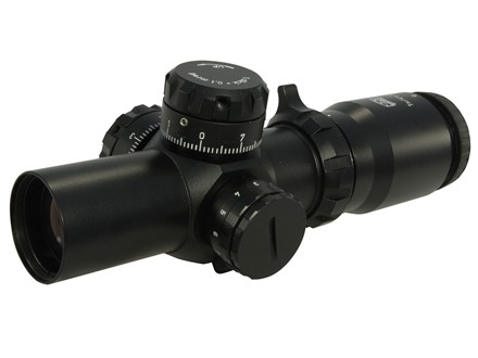 Valdada IOR Pitbull Tactical Rifle Scope 35mm Tube 1x:4x 32mm Switch Power 1/10 Mil Adjustments Illuminated CQB Reticle Matte with Medium Picatinny-Style Rings