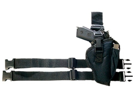 Bulldog Pro Series Tactical Leg Holster Right Hand 1911 Officer, Glock 17, 19, 22, 23, 31,  32, 36, H&K P7, USP, S&W 459, 559, 910, Walther P99 Nylon Black