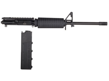 "Olympic Arms AR-15 A3 Flat-Top Upper Assembly 40 S&W 1 in 16"" Twist 16"" Barrel Stainless Steel Black with M4 Handguard, Flash Hider, 18-Round Magazine"