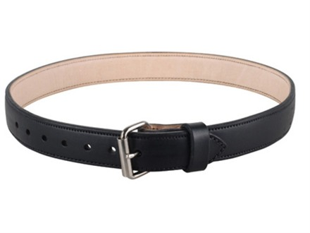 "Lenwood Leather 1400 Belt 1-3/4"" Steel Buckle Leather Black 44"""