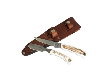 Knives of Alaska Jaeger/Muskrat Combination Fixed Blade Hunting Knife Set Stag Handles with Jaeger Boning Knife, Muskrat Knife and Leather Sheath