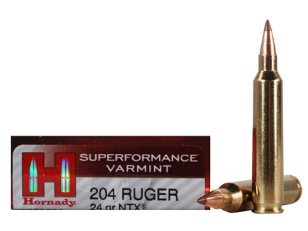 Hornady Varmint Express Ammunition 204 Ruger 24 Grain NTX Lead-Free Box of 20