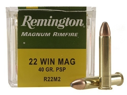 Remington Ammunition 22 Winchester Magnum Rimfire (WMR) 40 Grain Pointed Soft Point Box of 50